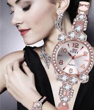 Ladies Fashion Soxy Rose Gold & Crystal Silver Dial Bracelet Band Wrist Watch.