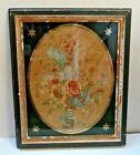 Antique Floral George III Silk Needlework In original Verre Eglomise Mount Frame