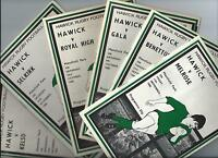 HAWICK RFC 1982-83 SEASON 6 programmes GALA, KELSO, MELROSE, ROYAL HIGH, TREVISO