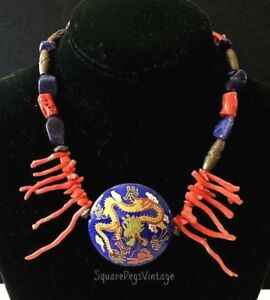 Vintage Dragon Enamel Pendant Necklace with Coral Lapis & Bronze Beads Chunky