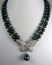 2 Rows Real Black Pearl 18KWGP Crystal Butterfly Pendant Necklace