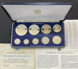 1978 Jamaica 9 coin Proof Set w/ Box & COA Silver $5 Coin (AB-101)