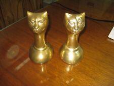 Vintage Art Deco Brass Cat Bookends Made In Korea Mid Century Cat Statue Pair