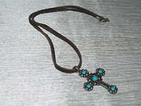 Estate Brown Leather Cord with Carved Silvertone & Faux Turquoise Cab CROSS Pend