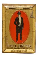 """Rare early 1900s """"Full Dress"""" roll top litho pocket tobacco tin in good cond."""