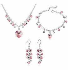18K Gold GP SWAROVSKI Element Crystal Heart Point Earring Necklace Set Pink