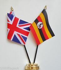 United Kingdom UK & Uganda Double Friendship Table Flag Set