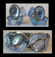 JULIANA VINTAGE GLOWING BLUE ART GLASS RHINESTONE BRACELET & EARRINGS SET