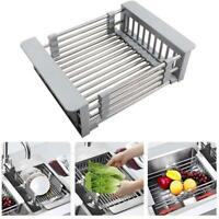 Telescopic Sink Drain Baskets Stainless Steel Dish Water Filter Rack Kitchen NEW