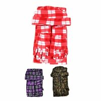 Women's Winter Plaid Fleece Hat Scarf and Glove 3 Piece Set Casual Warm