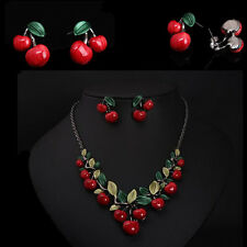 New Earrings Set Pendant Necklace Alloy Vintage Cherry fruit Bridal  Jewelry
