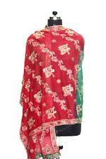 "Vintage Classic Multi Dupatta Scarf Sequins Embroidered Georgette Veil Stole L"""