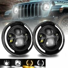"For Jeep Wrangler JK LJ TJ CJ Pair 7"" Inch Round LED Headlights Halo Angle Eyes"