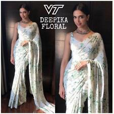Bollywood Ethnic White Floral Printed Sari Raw Silk Wedding Party Wear Saree