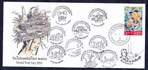 Thailand 2017 Special FDC World Post Day+postmark  signed by the designer stamps