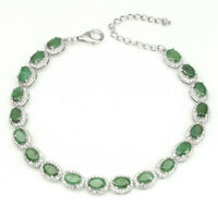 Unheated Oval Green Emerald 6x4mm White Cz 925 Sterling Silver Bracelet 7.5inchs