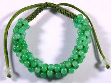 Big Adjustable Hand-knotted 81 Green Jadeite Jade Beaded String Bracelet