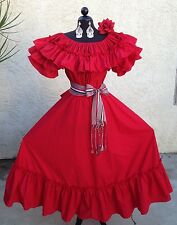 MEXICAN DRESS FIESTA,5 DE MAYO,WEDDING RED/RED OFF SHOULDER 2PC W/MEDIUM SASH