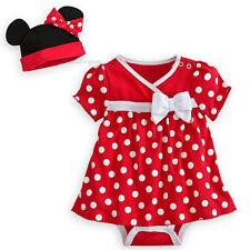 NEW Disney Store Minnie Mouse Red Costume Bodysuit Dress Set Baby Hat Cap 3-6M