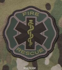 FIRE RESCUE PVC MEDIC RED CROSS TACTICAL MULTICAM VELCRO® BRAND FASTENER PATCH