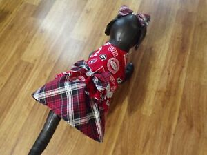 dog dress,Univ.of Georgia Bulldogs,plaid/silver trim, Small*(read size details)