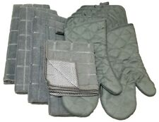 Kitchen Accessory Set Towel Dish Cloth Scrubbie Pot Holder Oven Mitt Gray NEW
