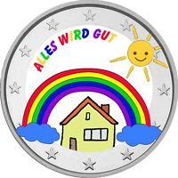 2 Euro Gedenkmünze Regenbogen / Kinder / Corona / coloriert / Farbmünze