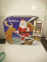 RUSSELL STOVER CHRISTMAS TIN SANTA CLAUS AND REINDEER  CHRISTMAS