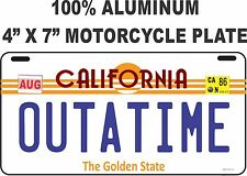 "Back to the Future / Delorean / OUTATIME LICENSE PLATE - MOTORCYCLE PLATE 4""X7"""