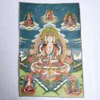 """36"""" Tibet Tibetan Cloth Silk Buddhism Guanyin Kwan-yin Tangka Thangka 不空羂索观音菩萨"""