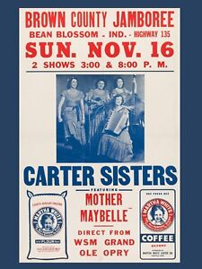 "Carter Sisters Bean Blossom 16"" x 12"" Reproduction concert Poster Photo"