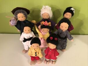 8 Bendy Rope Dolls Poseable Wood & Soft Sculpture Japanese Family in Kimonos