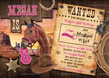 Cowgirl Invitation, Pink Western Party, Wild West Horse Birthday Invite