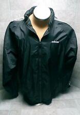 Vintage Adidas Windbreaker Nylon Hooded Jacket Black White 90s XL