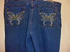 Miss Juli embroidered butterfly 5 pocket capris stretch dark wash 24W EUC J-9