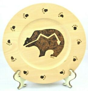 """Beau Beaudry Flame Etched Wooden 10"""" Plate Southwestern Bear Fetish Cabin Decor"""