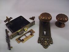 Antique Cast Bronze Door Knob Privacy Set Thumb Turn Mortise Lock    #672