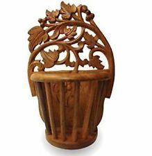 "Wooden Sheesham Wood Beautiful Hand Carved 10"" Wall Hanging Flower Vase Giftitem"