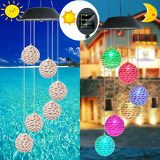 Solar LED Garden Wind Chimes Waterproof Color Changing Xmas Lights Tree Hanging