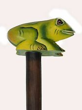 Frog Hand Carved Wood Walking Stick Cane Art Whimsical Tropical Art Life Garden