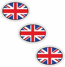 3x Oval Flag Stickers UK Union Jack Small Country Code Laptop Smartphone Case