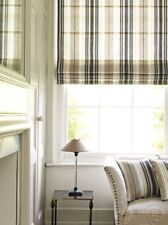 "Country Curtains (1) Blue & Cream Striped Ticking Roman Shade Valance Sz 32""x16"""
