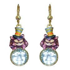 Kirks Folly Seaview Moon Cheshire Hatter  Leverback Earrings goldtone
