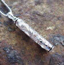 Hawaiian CUT OUT SCROLL BLACK ENAMEL BORDER TUBE Silver Pendant Necklace SP36602