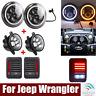 7inch Halo LED Headlight &4'' Fog Light&Tail Lamp Combo Kit For Jeep Wrangler JK