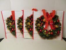 "4 Large Christmas Wreath 16.5"" X 16.5"" Reusable Eco Shopping Tote Gift Bags"