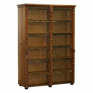 RARE REGENCY LIBRARY BOOKCASE WITH HIDDEN BUILD IN COAT CUPBOARDS LEATHER TRIM