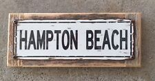 Hampton Beach Rye NH New Hampshire Vintage Framed Metal Street Sign Home Decor