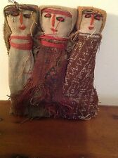 3 Vintage Chancay Dolls Primitive Folk Art Native/South American Indian