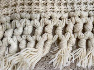 """Handmade Waffle Weave Afghan Blanket Throw Ivory Natural Oatmeal 92"""" X 41"""" Fring"""